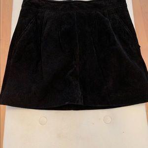 Black suede miniskirt